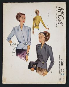 McCall Vintage 1940's Sewing Pattern 7066 Ladies Blouse Size 18 Bust 38