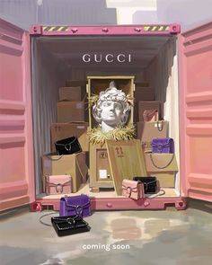 """IGNASI MONREAL, (Artist), London, UK, """"FAKE"""", (It's a reminiscent of port containers full of fake bags. Among all of these Dionysus bags, Dionysus himself), for Gucci Gift Giving, pinned by Ton van der Veer"""