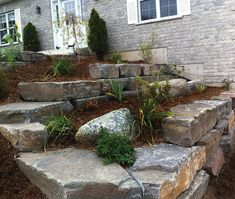 "The Lawn Ranger - Upper Canada 10""-12"" thick Mocha Armourstone #landscape, #wall, #garden, #house, #frontyard, #mocha, #armourstone"