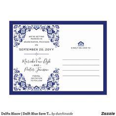 Delfts Blauw Delft Blue Save The Date Photo Announcement Postcard Blue Save The Dates, Save The Date Photos, Wedding Save The Dates, Our Wedding, Wedding Gifts, Thank You Photos, Photo Postcards, Wedding Thank You Cards, Delft