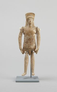 Greek, Boeotian Jointed doll, ca. mid-5th century B.C. Terracotta h. 8.5 cm., l. 5.5 cm. (3 3/8 x 2 3/16 in.) l. body 8.5 cm., l. arms 5.5 cm., l. legs 4.8 cm. Museum purchase and exchange (29-183) Place made: Boeotia, Greece y1947-205