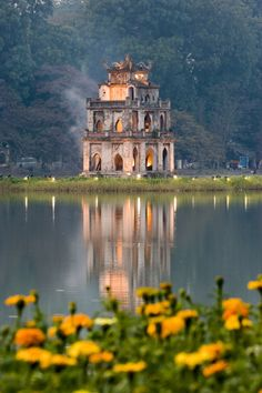 Pagoda at Hoan Kiem Lake, Hanoi, Vietnam