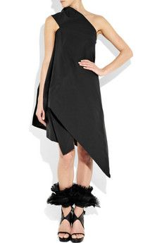 Rick Owens - love the dress and the shoes : Cotton and silk-blend canvas one-shoulder dress