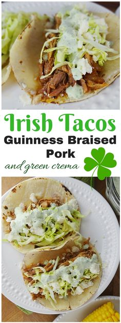Irish Tacos are the perfect St. Guinness braised pork topped with cabbage, green crema and queso fresco. The Cheerful Kitchen patricks day food dinner irish meals cabbage recipes Irish Tacos - Guinness Braised Pork + Green Crema Pork Recipes, Mexican Food Recipes, Dinner Recipes, Cooking Recipes, Ethnic Recipes, Irish Food Recipes, Cooking Pasta, Cooking Bacon, Skillet Recipes