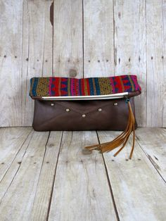 Large Aztec Tribal Handmade Leather Foldover Clutch Aguayo Fabric