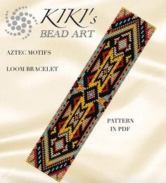 This is an own designed pattern in PDF format, downloadable directly from ETSY. This pattern is for the Aztec motifs LOOM bracelet , which is created using Japanese delica size 11 seedbeads. The pdf file includes: 1. a large picture of the pattern 2. a large, detailed graph of the