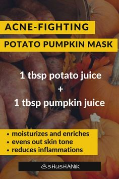 When you're dealing with a busy schedule, pampering yourself can be tricky. Now, with this easy-to-do potato pumpkin mask, you can take matters into your own hands. Aloe Vera Face Mask, Acne Face Mask, Homemade Face Masks, Homemade Skin Care, Mask For Dry Skin, Avocado Face Mask, Pumpkin Mask, Even Out Skin Tone