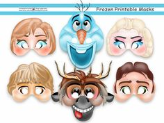 Unique Frozen Printable Masks,party masks,birthday,decoration,invitation,Anna,Olaf,Elsa,Kristoff,Sven,Hans,costume,photo props,Disney