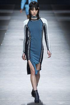 Versace | Fall 2016 Ready-to-Wear | 13 Blue/white knit long sleeve mini dress