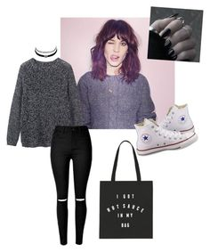 """Day Look 154 90's Grunge Oversize Sweater Spring"" by fashion-by-katrine on Polyvore featuring Toast, Converse and Charlotte Russe"