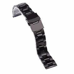 Topwell Black Stainless Steel Bracelet Watchbands Strap Watch Links Straight End ** Don't get left behind, see this great product Double Lock, Stainless Steel Bracelet, Watch Bands, Watches, Bracelets, Stuff To Buy, Black, Type, Amazon