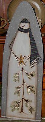 Primitive HP Folk Art Snowmen Tree Winter Stretcher | eBay