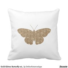 Gold Glitter Butterfly with White and Black Stripe Throw Pillows