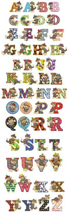sock monkey applique alphabet machine embroidery designs applique