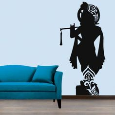 Creative Width Lord Krishna Wall Decal - Add oodles of style to your home with an exciting range of designer furniture, furnishings, decor items and kitchenware.We promise to deliver best quality products at best prices. Wall Art Designs, Paint Designs, Wall Design, Design Bedroom, Diy Design, Simple Wall Paintings, Wall Painting Decor, Krishna Painting, Krishna Art