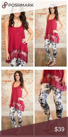 """PRE ORDER NWT LACE TRIM TOP Lace Trim Racerback Tank is a burgundy red color and has a subtle ribbed knit look. 65% polyester, 35% rayon. Length measures as follows: (front/back) S - 27.5""""/29.5"""", M - 28.5""""/30.5"""", L - 29.5""""/31.5"""" Infinity Raine Tops Tank Tops"""