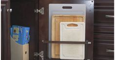 Vertical Behind the Cabinet Door Cutting Board Holder - We're doing a DIY kitchen renovation (agonizingly slowly, but we're doing it!).   We're using Cabinets t...