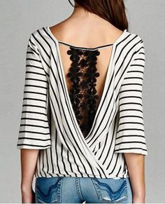 Sexy V-Neck 3/4 Sleeve Striped Hollow Out Women's Blouse Blouses | RoseGal.com Mobile