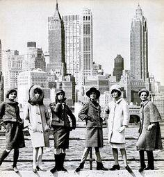 Models wearing Fall fashions against Manhattan skyline, photo by Ormond Gigli, 1963