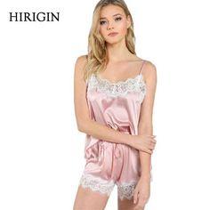 6dc7407564 Ladies Sexy Silk Satin Pajama Set Lace Pyjama Set Sleeveless Pijama Set  V-neck Sleepwear