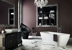Black White Gothic Glamour Bathroom. Such an elegant way to decorate without over doing it! pinned by Hillharbor.com #RealEstate