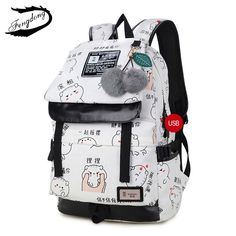 FengDong female fashion letters printing backpack usb bag for laptop women travel bags white canvas school backpack for girls Cute Backpacks, Girl Backpacks, School Backpacks, Canvas Backpacks, Kids Tumblr, Teen Fashion, Womens Fashion, Female Fashion, Style Fashion