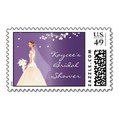 elegant purple bride bridal shower postage