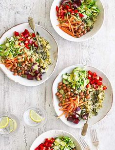 Buddha bowls are generous portions of good-for-you ingredients piled into a bowl as a healthy but filling salad. They're balanced in grains, protein, veggies and carbs, so choose what you fancy and get filling! Think of this as a savoury smoothie bowl: it's all about those toppings!