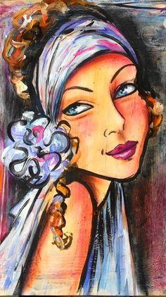 Original oil on canvas on wooden frame - Signed - Dam Domido original painting… Painting People, Figure Painting, Painting & Drawing, Frida Art, Arte Pop, Whimsical Art, Portrait Art, Face Art, Figurative Art
