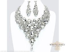 Cristal boda joyería conjunto collar de la por WhiteAisleBoutique
