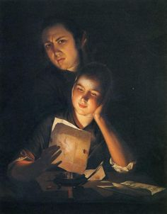 Girl Reading a Letter by Candlelight, With a Young Man Peering over Her Shoulder. c.1760