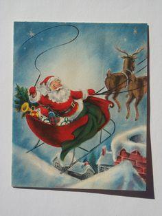 Vintage Santa and reindeer card.