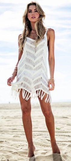 Latest fashion trends: Summer look | Sheer and fringes white bikini cover up