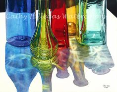 Glass Bottles in Sun art watercolor painting print, 11x14, Blue Green Red Yellow Teal, by Cathy Hillegas, watercolor bottles, giclee print