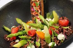 Asparagus is Arlesian with quinoa and olives Olives, Vegetable Recipes, Cobb Salad, Quinoa, Asparagus, Vegetables, Food, Studs, Essen