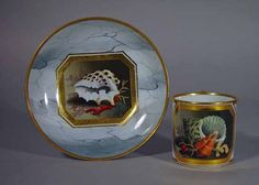 A Flight & Barr Worcester Shell-decorated Coffee Can and Saucer, Circa 1800-10.