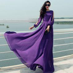 Autumn Winter Female Dresses Off Shoulder Chiffon Purple Sexy Dress Floor Length Long Maxi Dress Party Evening Dress Women 2015 Spring