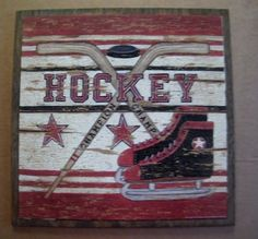 Primitive Wood HOCKEY Sports Sign Spivey Ball Art Game Room Man cave  Decor   #Unbranded #RusticPrimitive