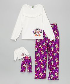 Another great find on #zulily! Ivory & Purple Penguin Pops Pajama Set & Doll Outfit - Girls #zulilyfinds