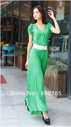 Online Shop Women's Fashion V-neck Green Chiffon Jumpsuit Wide Leg Pants Culottes Jumpsuits Free shipping B1184|Aliexpress Mobile