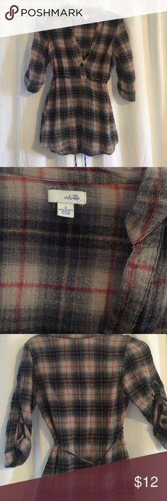Anthropologie Plaid Blouse Anthropologie Odille Brand Plaid 3/4 length blouse with tie. Good used condition Anthropologie Tops Blouses