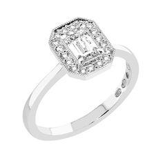 Kukkaniitty-malliston halosormus smaragdihiontaisella (emerald cut) keskitimantilla. Uudessa M-693w sormuksessa keskikivenä sädehtii smaragdihiontainen (emerald cut) 0,50–0,55ct timantti. Art deco -henkisen halokoristeen mitat ovat noin 9,8x8,0 mm ja sen muoto on keskikiven mukaan 8-kulmainen. M-693w sormuksen suositusvähittäishinta alkaen noin 4.300€. Muoto, Art Deco, Engagement Rings, Jewelry, Fashion, Enagement Rings, Moda, Wedding Rings, Jewlery