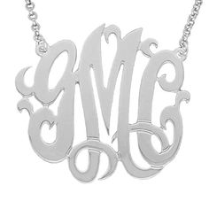 Mono03 Personalized Sterling Silver 1.25 Inch Three Initial Monogram Necklace with Silver Rolo Chain.More info for fashion jewelry necklaces;personalized necklaces;personalized necklaces;gold charms for necklaces;stone necklaces for women could be found at the image url.(This is an Amazon affiliate link and I receive a commission for the sales)