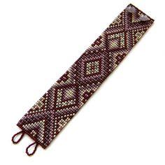 Purple beaded  bracelet   beaded cuff beadwork by Anabel27shop