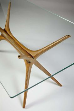 Occasional table X-Frame, designed by Tapio Wirkkala for Asko, Finland 1958. Aeroplane veneer frame and glass top. / 1stDibs