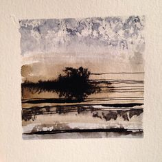 Abstract landscape. Ink and watercolor