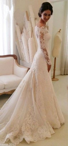 Vintage Wedding Dresses White Lace Off The Shoulder Sheer Long Sleeve Wedding Dress With Train - 2016 Wedding Dresses, Stunning Wedding Dresses, White Wedding Dresses, Bridal Dresses, Beautiful Dresses, Dresses 2016, Wedding White, Spring Wedding, Spanish Lace Wedding Dress