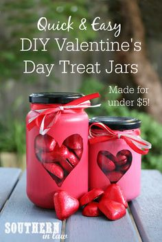 Quick and Easy Painted Heart Valentine's Day Treat Jars Project for Less Than $5 - valentines gifts, anniversary, wedding, homemade gifts, handmade gifts, mason jar crafts, diy, budget friendly, quick crafts