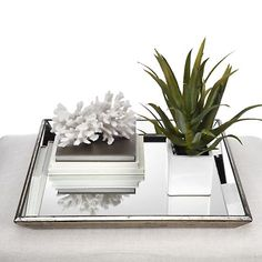 Pascual Mirrored Tray ~ a catchall for books, candles, and more...plus can turn your clutter into pretty décor.