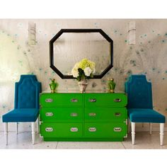 LOVE the funky color combo, and it's all thrift store/flea market finds, spruced up!!  How cool is that!!  Photo: Michael McNamara